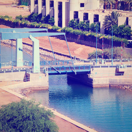 movable bridge: Steel Movable Bridge Above Rowing Canal in Eilat, Israel Stock Photo
