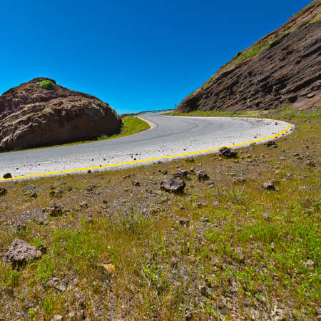 golan: Asphalt Road in the Golan Heights, Early Spring