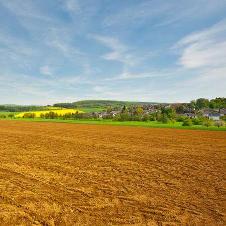 tread: Trail of Tread on the Plowed Field, Germany Stock Photo