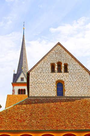 belfry: Church and Belfry in Switzerland Stock Photo