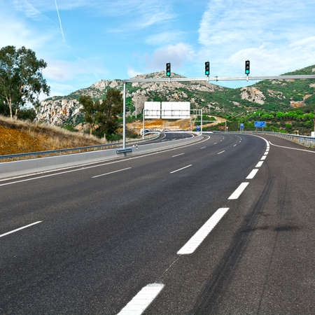 Traffic Lights on the Toll Road Before Entering the Tunnel in Spain Stock fotó