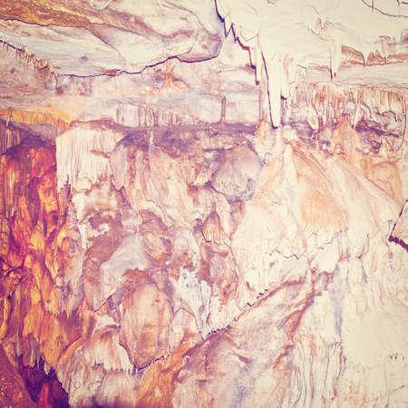 dark cave: Stalactite and Stalagmite in the Deep Dark Cave