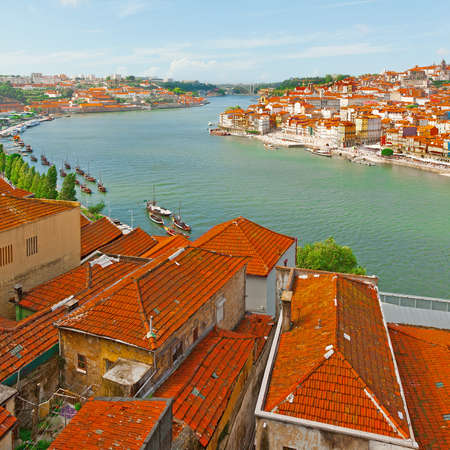 Aerial View to Historic Center City of Porto in Portugal