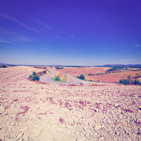 the arable land: Plowed Fields of Italy in a Autumn, Stock Photo
