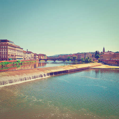 river arno: Embankment of the River Arno in the Italian City of Florence, Stock Photo