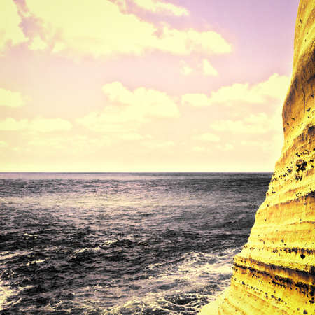 lebanon beach: Rosh Hanikra Cliff near Israeli- Lebanese Border, Vintage Style Toned Picture
