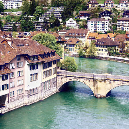 renewed: Aerial View of the City of Berne and River Aare, Vintage Style Toned Picture