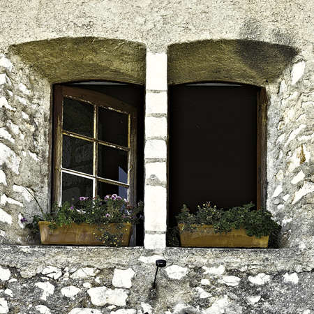 open windows: Open Windows Decorated With Fresh Flowers, Vintage Style Toned Picture