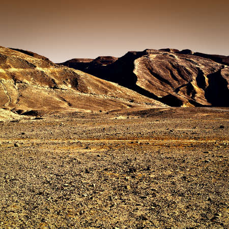 Rocky Hills of the Negev Desert in Israel at Sunset, Vintage Style Toned Picture