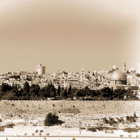 mount of olives: View from the Mount Olives to Walls of the Old City of Jerusalem and the Dome of the Rock, Retro Image Filtered Style Stock Photo