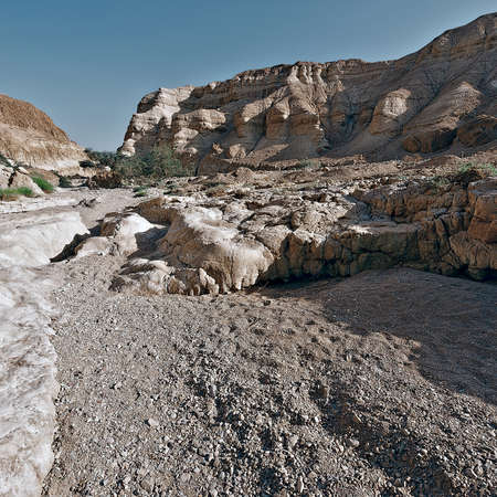 Dry Riverbed in the Judean Desert, Vintage Style Toned Picture Stock Photo