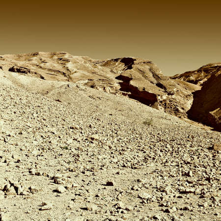 Rocky Hills of the Negev Desert in Israel, Vintage Style Toned Picture Stock Photo