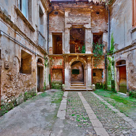 Dilapidated Courtyard of the Old Italian Home in the City of Minori