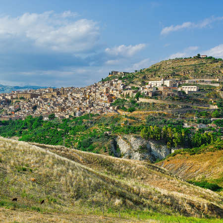 The Typical Sicilian Medieval Town on the Top of the Mountain Stock Photo