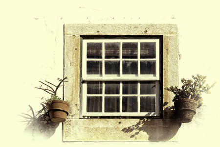 home decorated: Window of Portuguese Home Decorated with Flower, Retro Image Filtered Style