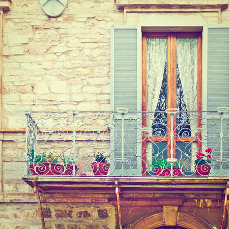 resplendence: Italian Balcony, Decorated With Fresh Flowers, Instagram Effect