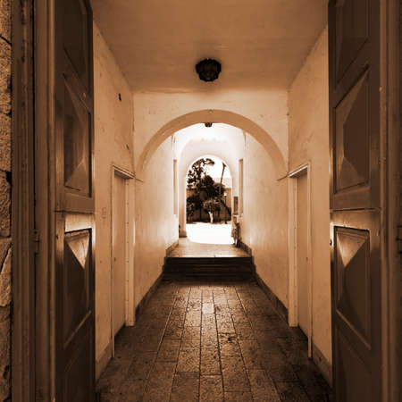 Courtyard in the Historic Center of Tel Aviv in Israel, Vintage Style Sepia