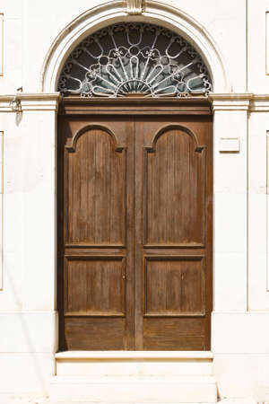 ragusa: Wooden Italian Door in Historic Center of the City of Ragusa Stock Photo