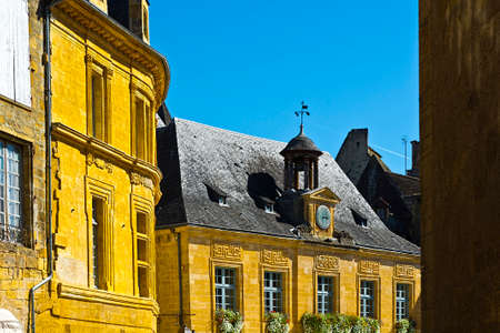 peaked: Black Tiles on the Peaked Roofs in French City of Sarlat Stock Photo
