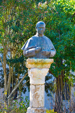 the sixth: Bronze Bust of the Pope Paulus Sixth on the Mount Tabor in Israel