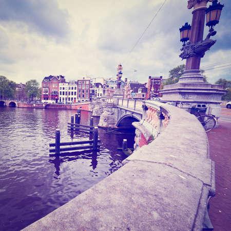 amstel: Bridge over the Amstel River in Amsterdam, Stock Photo