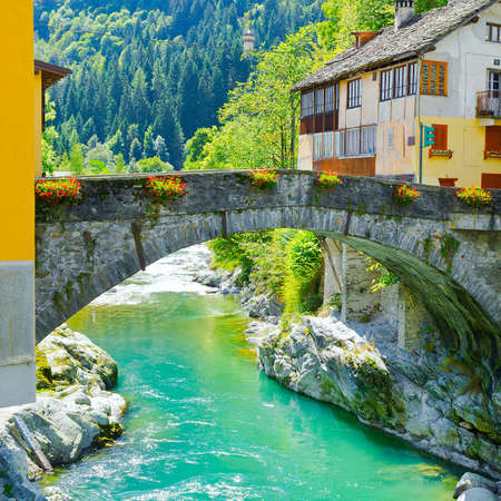 View of the Medieval City in Italian Alps Stock Photo