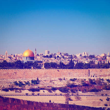 View from the Mount of Olives to Walls of the Old City of Jerusalem and the Dome of the Rock Stock Photo