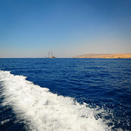 Foam Trail Astern in Gulf of Agaba, Israel And Jordan