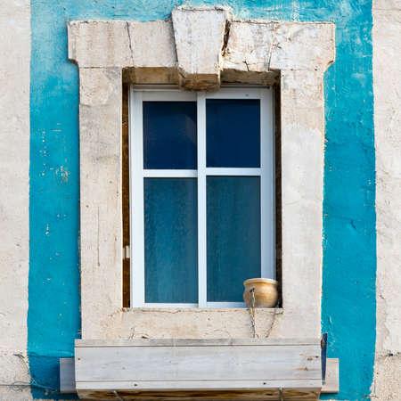jaffa: Israel Old Window Decorated with Ceramic Flower Pot in Jaffa