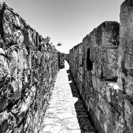 Part of the wall surrounding the Old City in Jerusalem, Israel. An important Jewish religious site. Black and White Picture