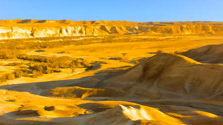 Rocky Hills of the Negev Desert in Israel, Stylized Photo