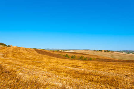 Stubble fields on the hills of Tuscany. Tuscany landscape after harvest. Stock Photo