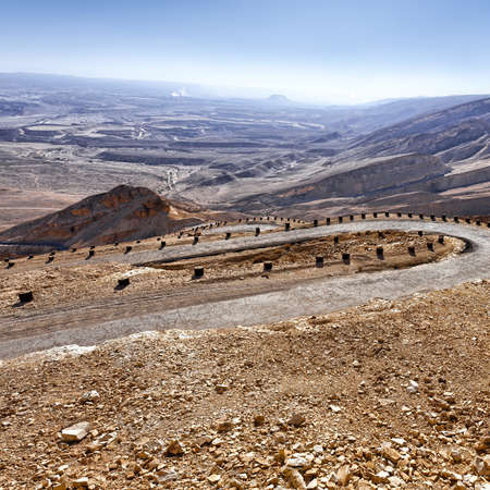 Meandering Road in Sand Hills of Judean Mountains, Israel Stock Photo