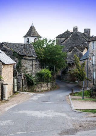 Medieval city of Auxillac without people and cars in France. Auxillac is a commune in the Lozere department in the Languedoc-Roussillon region in southeastern France. Stock Photo