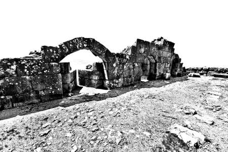 Remnants of castle on the Golan Heights near the Israeli border with Syria. The Nimrod Fortress, National Park of Israel on the slopes of mount Hermon. Black and white picture