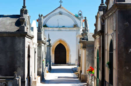 Small Catholic Cemetery in a Portugal Village, Stylized Photo Stock Photo