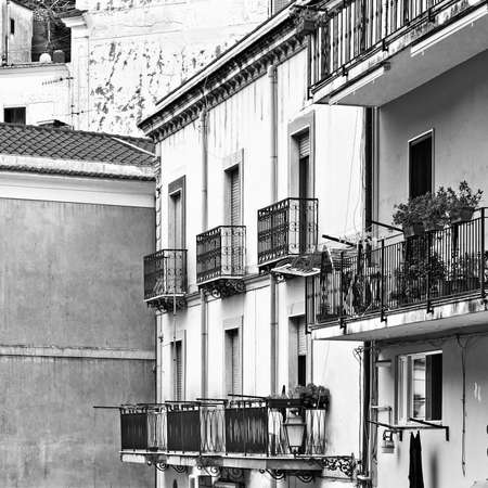 smudge: View to Historic Center of Cetara in Sicily, Retro Image Filtered Style