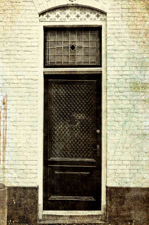 Entrance Door Into A Building Of Traditional Architecture In Amsterdam,  Netherlands. Dutch Front Door