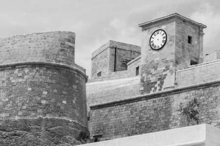 Victoria also known among the native Maltese as Rabat on maltese island Gozo. Cittadella or Citadel lies in the heart of city. Black and white picture Stock Photo