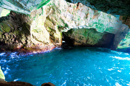 Rosh Hanikra Cliff near Israeli- Lebanese Border. Underground caves of Rosh HaNikra with sea water at the northern point of Israeli coast. Stok Fotoğraf