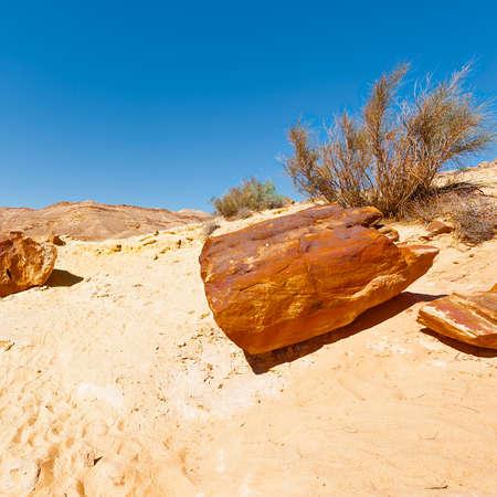 Big Stones of Grand Crater in Negev Desert, Israel Stock Photo