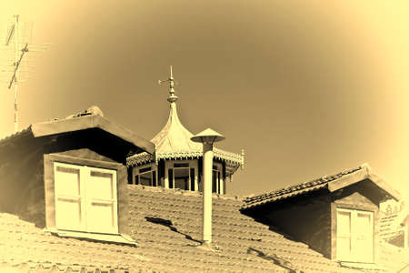 Roof in the  Historic Center City of Cintra in Portugal, Stylized Photo