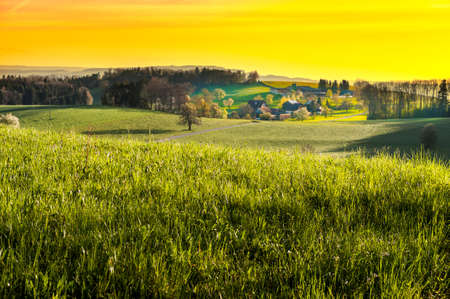 the arable land: Small village in Alps at sunset. Swiss landscape with forests and meadows early in the morning. Agriculture in Switzerland, arable land and pastures.
