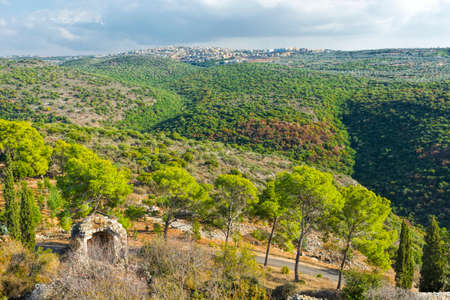 Galilee mountains arab settlement in Israel. Panorama of Galilee- the Northern District of Israel Stock Photo