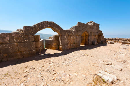 Remnants of castle on the Golan Heights near the Israeli border with Syria. The Nimrod Fortress, National Park of Israel on the slopes of mount Hermon.