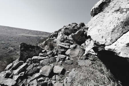 Gamla nature reserve located in the Golan Heights in Israel. View of the archaeological sites. Black and white photo Stock Photo