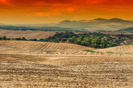 Fields in Spain after harvesting at sunrise. Breathtaking landscape and nature of the Iberian Peninsula