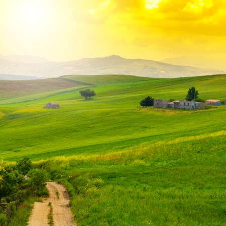 Sicilian landscape at sunrise, hills, fields, flowers, pasture and sunlight Stock Photo