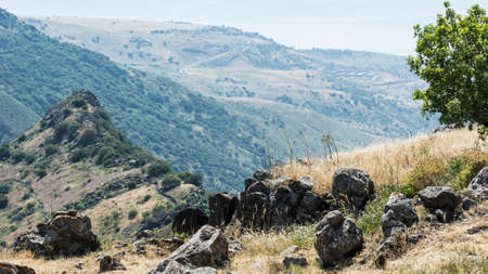Gamla nature reserve located in the Golan Heights in Israel. View of the archaeological sites and sea of Galilee Stock Photo