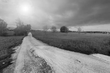 Dirt path in Piedmont on the background of Italian Alps. View of the mountain valley with old broken road at sunrise. Black and white picture